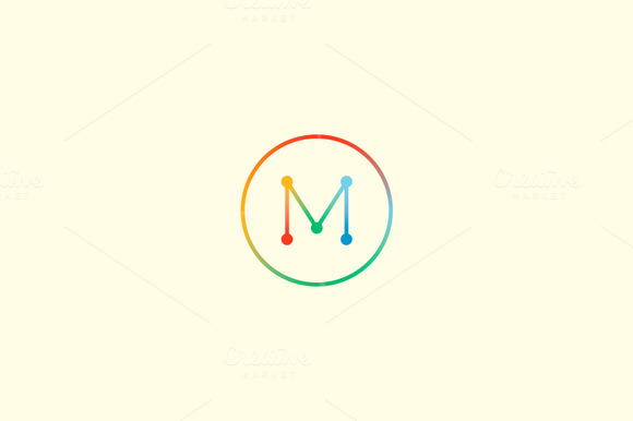Abstract Colorful Line Letter M Logo