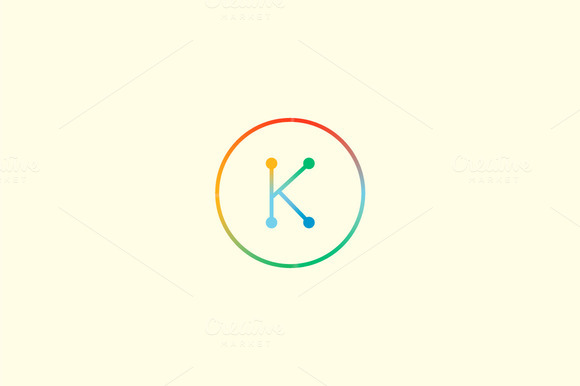 Abstract Colorful Line Letter K Logo