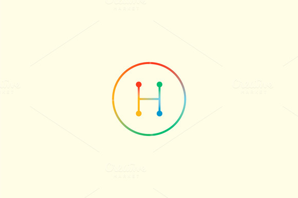 Abstract Colorful Line Letter H Logo