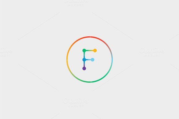 Abstract Colorful Line Letter F Logo