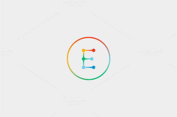 Abstract Colorful Line Letter E Logo