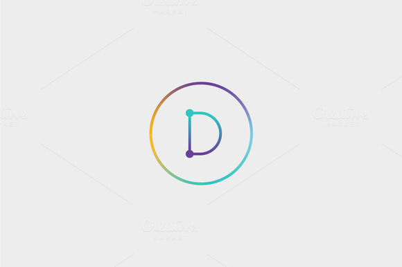 Abstract Colorful Line Letter D Logo
