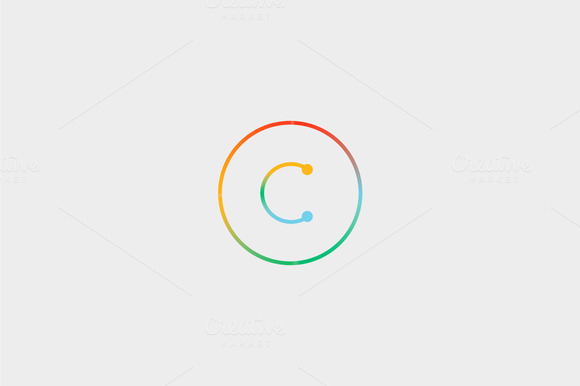Abstract Colorful Line Letter C Logo