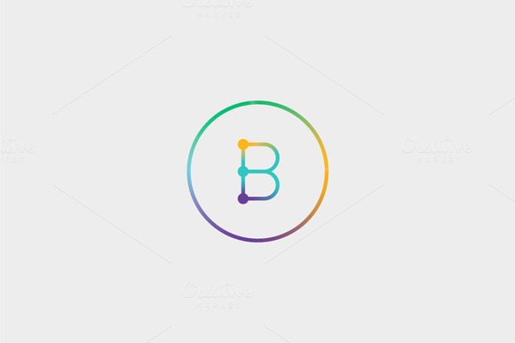 Abstract Colorful Line Letter B Logo