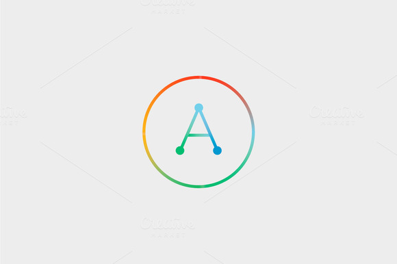 Abstract Colorful Line Letter A Logo