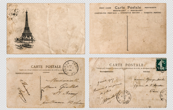 Antique French Postcards Paris PNG