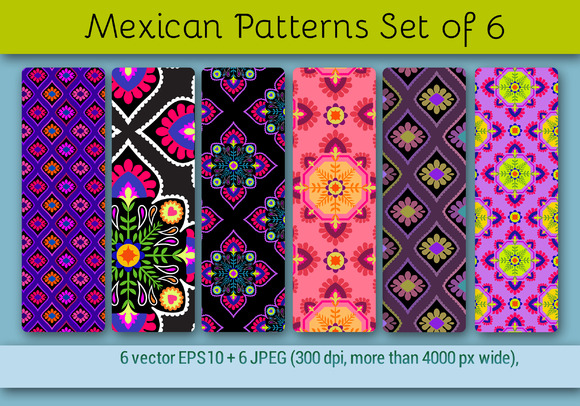 Mexican Patterns Set Of 6