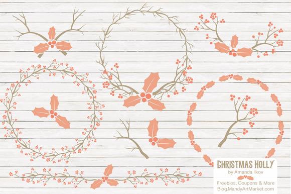 Peach Christmas Holly Vectors