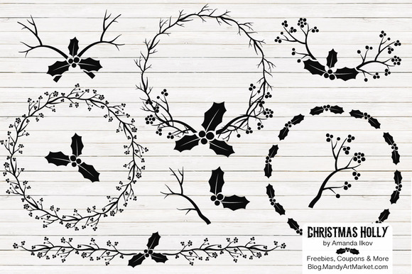 Black Holly Vectors Holly Clipart