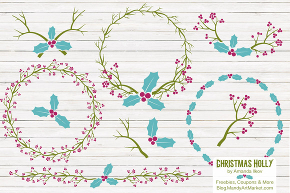 Bohemian Christmas Holly Vectors