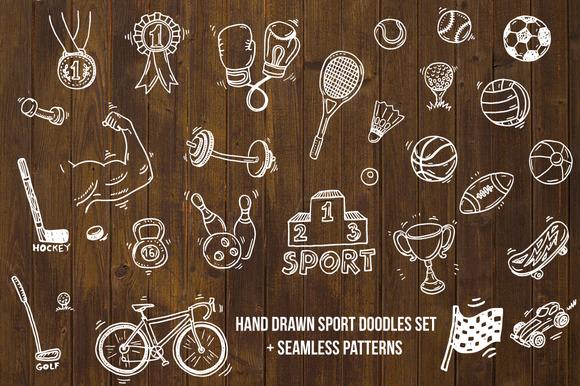 Hand Drawn Sport Doodle Set Bonus