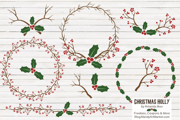 Christmas Holly Vectors Papers
