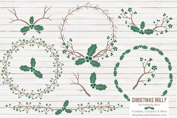 Emerald Holly Wreaths Backgrounds