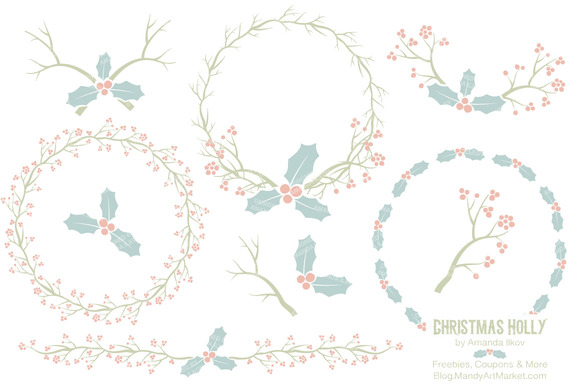 Pastel Christmas Holly Backgrounds