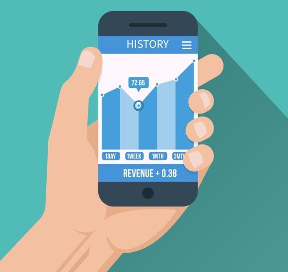 Financial App Smart Phone In Hand