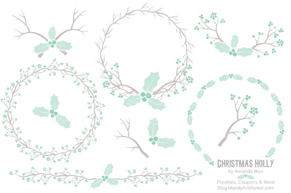 Mint Holly Wreath Clipart Papers