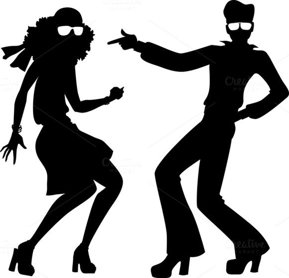 Disco Dancers Silhouette