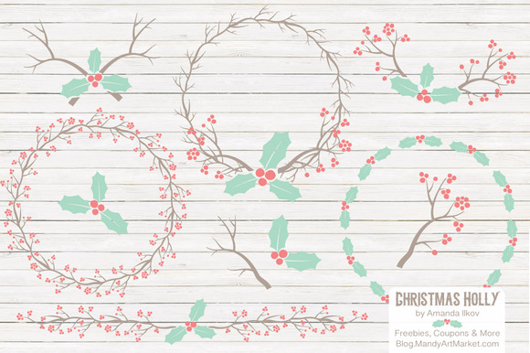 Mint Coral Holly Christmas Vectors