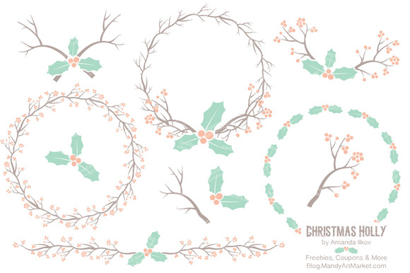 Mint Peach Holly Clipart Vectors