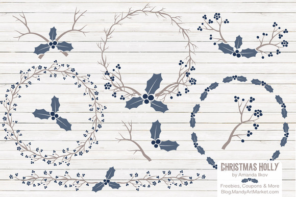 Navy Christmas Vector Holly Clipart