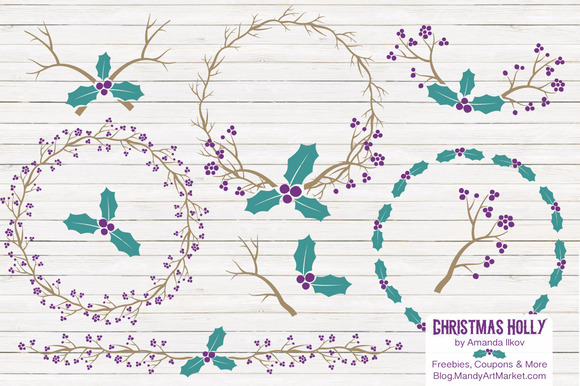 Peacock Holly Christmas Clipart