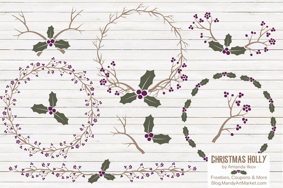 Plum Christmas Holly Vectors