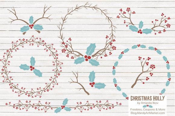 Red Blue Christmas Holly Clipart