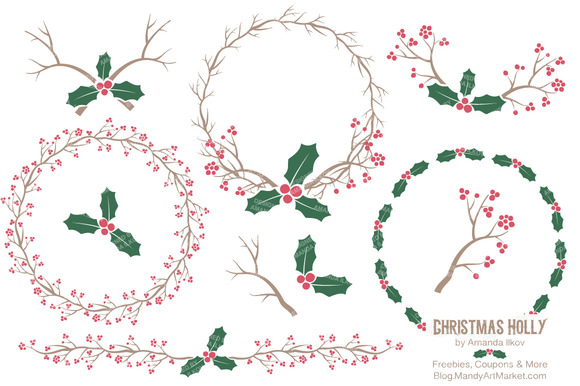 Red Green Vector Holly Textures