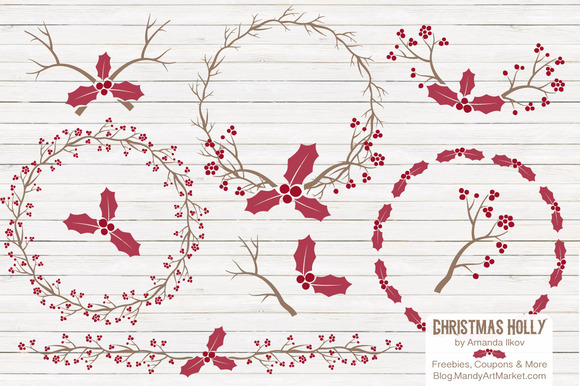 Red Holly Branches Wreaths