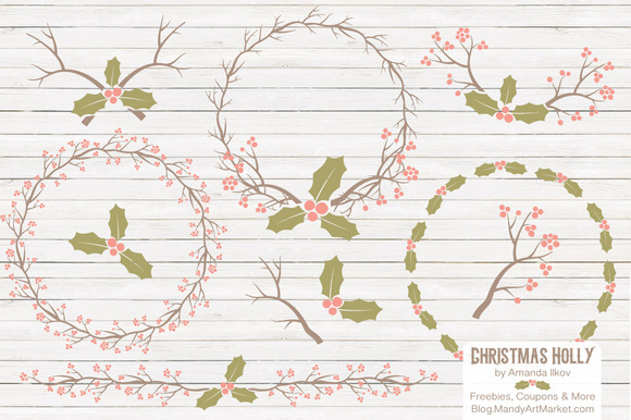 Vintage Christmas Holly Background