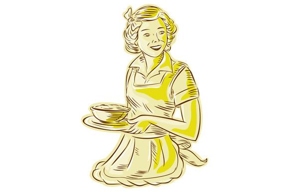 Homemaker Serving Bowl Of Food Vinta