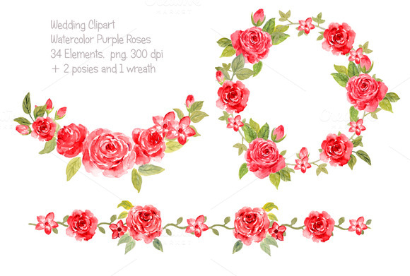 Watercolor Wedding Red Roses