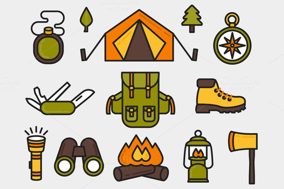 Camping Set Outlined Colored