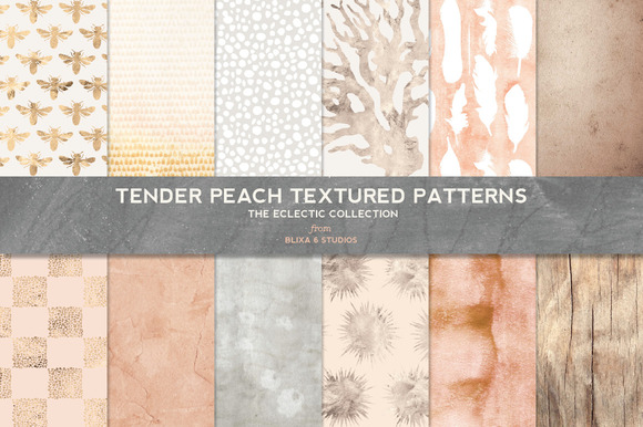 Tender Peach Gold Texture Patterns