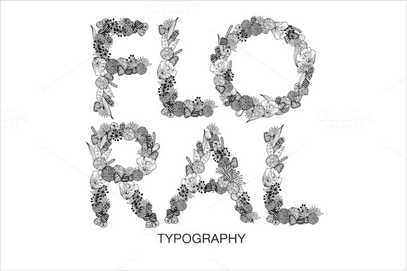 Floral Typeface Vector