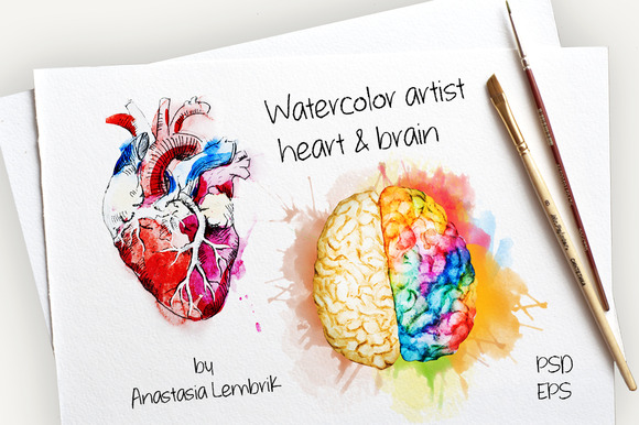 Watercolor Artist Heart Brain