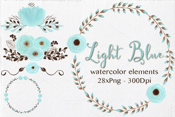 Light Blue-Watercolor Elements