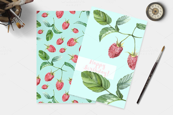 Watercolor Pattern Raspberries