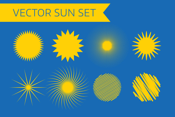 Sun Icons Set Summer And Holiday