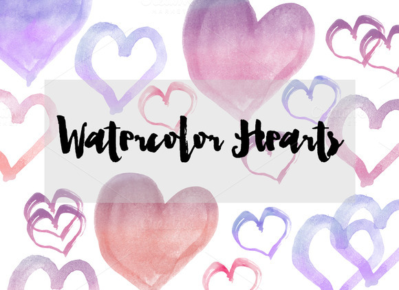 Watercolor Hearts