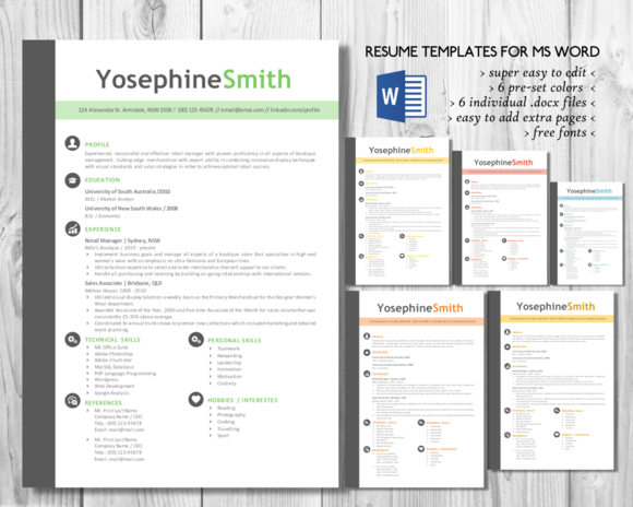 Simple Bar 2 In 1 Word Resume