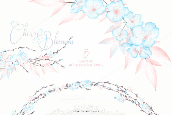 Watercolor Cherry Blossoms Cliparts
