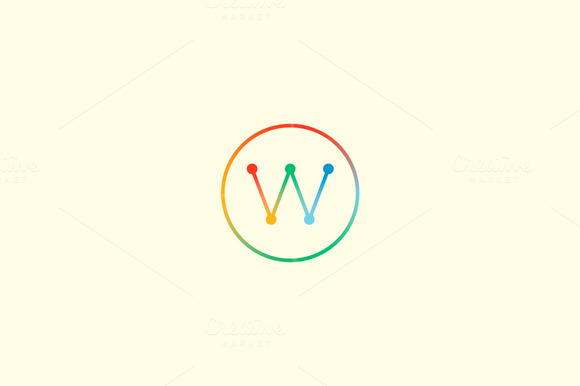 Abstract Colorful Line Letter W Logo
