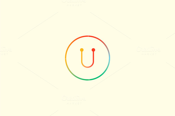 Abstract Colorful Line Letter U Logo