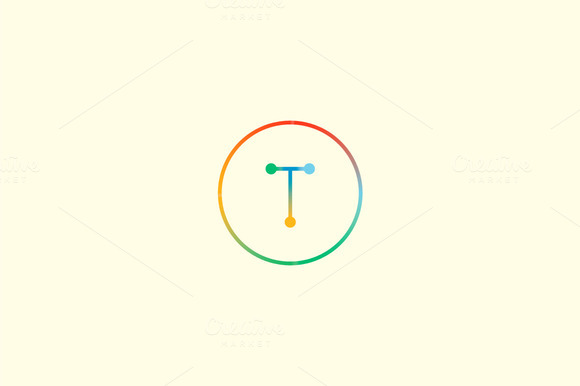 Abstract Colorful Line Letter T Logo