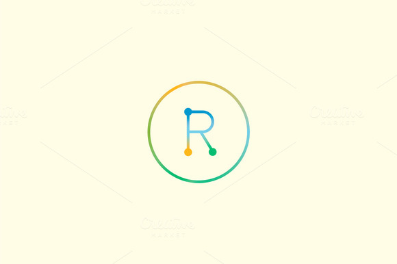 Abstract Colorful Line Letter R Logo