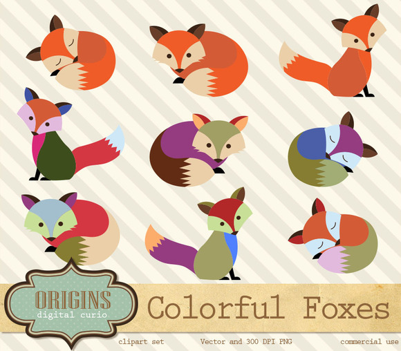 Colorful Foxes Vector Clipart