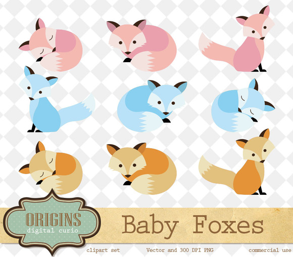 Baby Foxes Vector Clipart