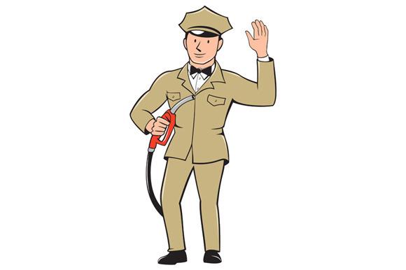 Gas Jockey Attendant Waving Isolated