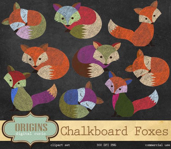 Chalkboard Fox Clip Art